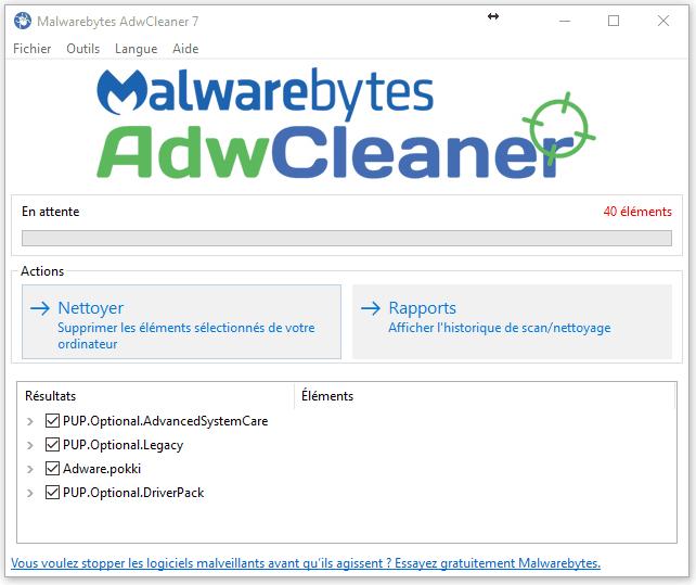 AdwCleaner-Nettoyer