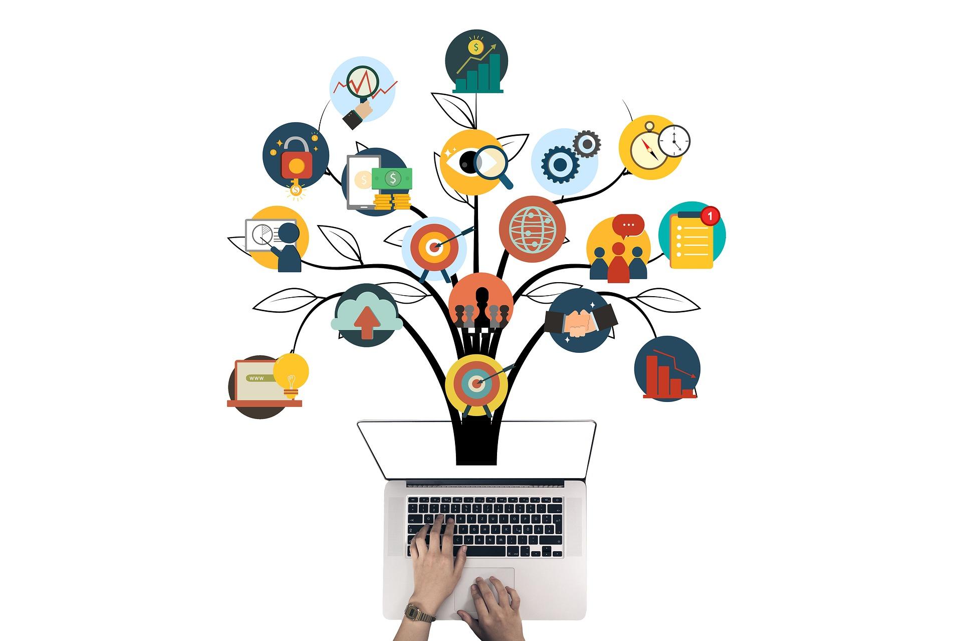 Ordinateur infographie pour création d'entreprise