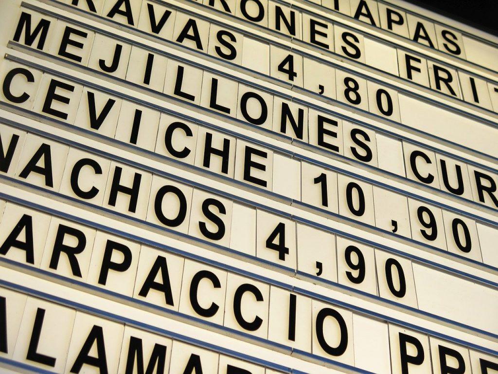 Panneaux menu restaurant
